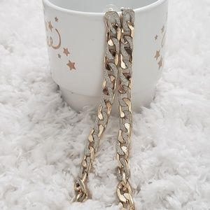 Long gold and silver chain earring NEW